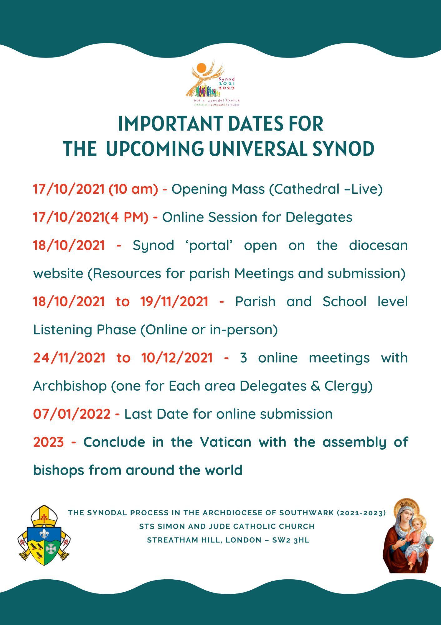 Important Dates for the Upcoming Universal Synod  (Adsumus, Sancte Spiritus)