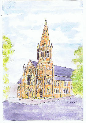 Watercolour of outside of SHMC