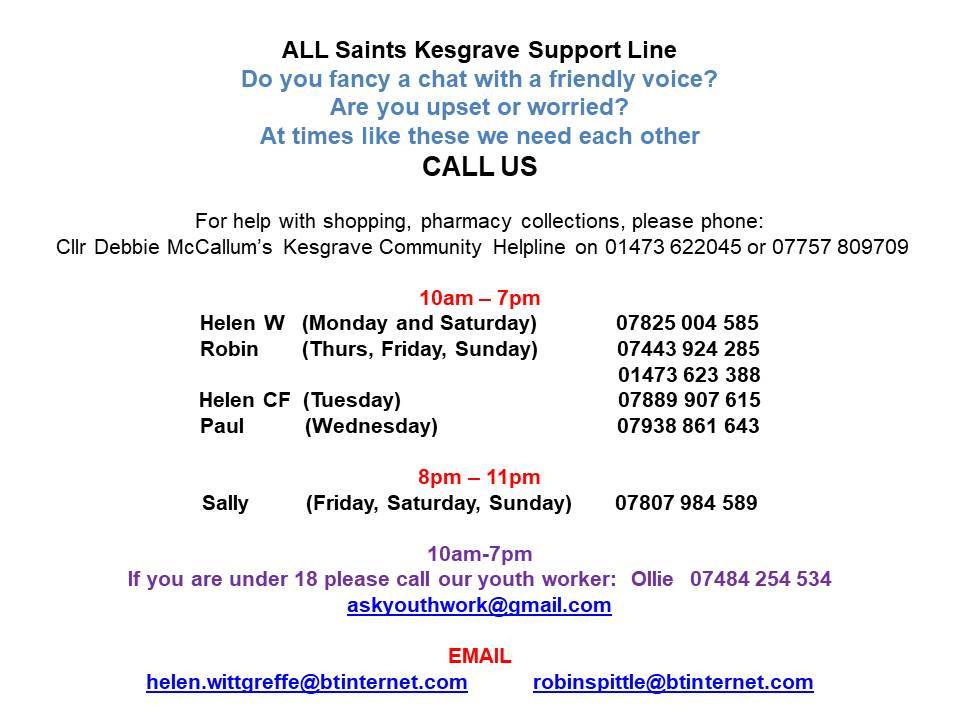All Saints Kesgrave Support Line