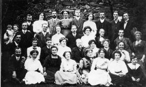 group in church garden