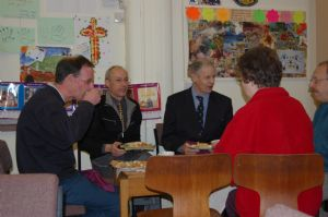 Pete Wilson enjoying fellowship over supper