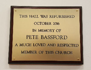 Plaque inmemory of Pete Bassford