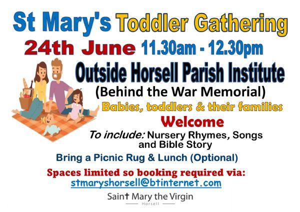Toddler gathering 24th June