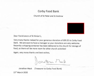 Thank you note Food Bank