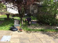 Tidying the church yard