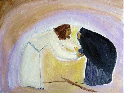 Jesus  bent over woman