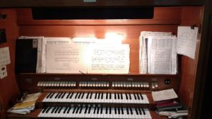 View of organ console