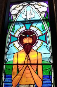 Stained glass window at Heswall URC