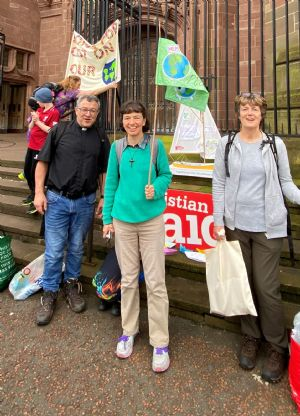 Geoff, Diane and Cath at the end of the walk at the Cathedral
