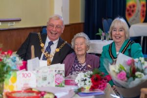 Molly with Mayor and Mayoress at birthday party