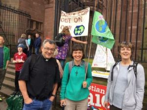 Geoff, Diane Barrow and Cath at Liverpool Cathedral. The paper prayer boats were presented there and will be taken up to Glasgow for a prayer installation.
