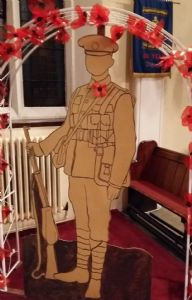 Perspex soldier as part of Haydock's Remembrance event