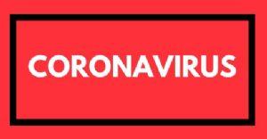 Coronavirus word on red background