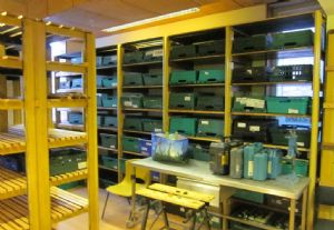 Foodbank shelves made from pews