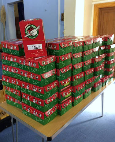 2nd Oct 2016, 84 boxes ready for Operation Christmas Child
