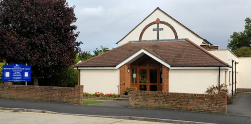 The front view of our church building, in Hockley.