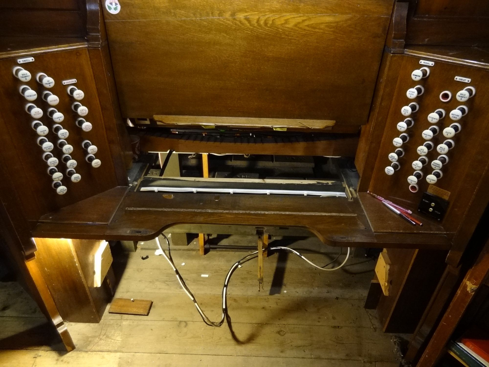 Organ with keyboards and pedal board removed