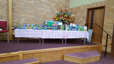 Food display for Harvest Service to be given to Foodbank