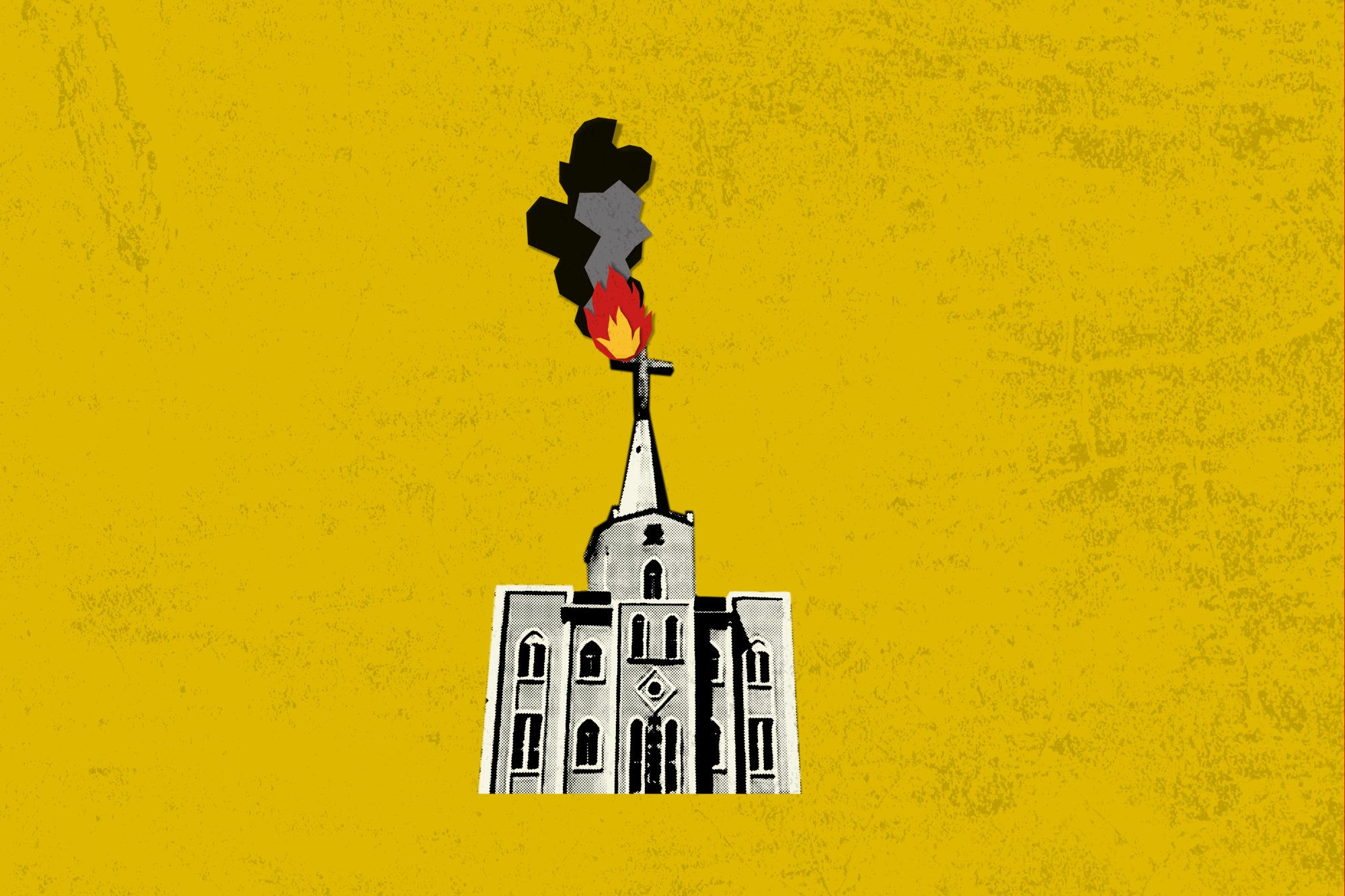 Illustration of a Church on fire.