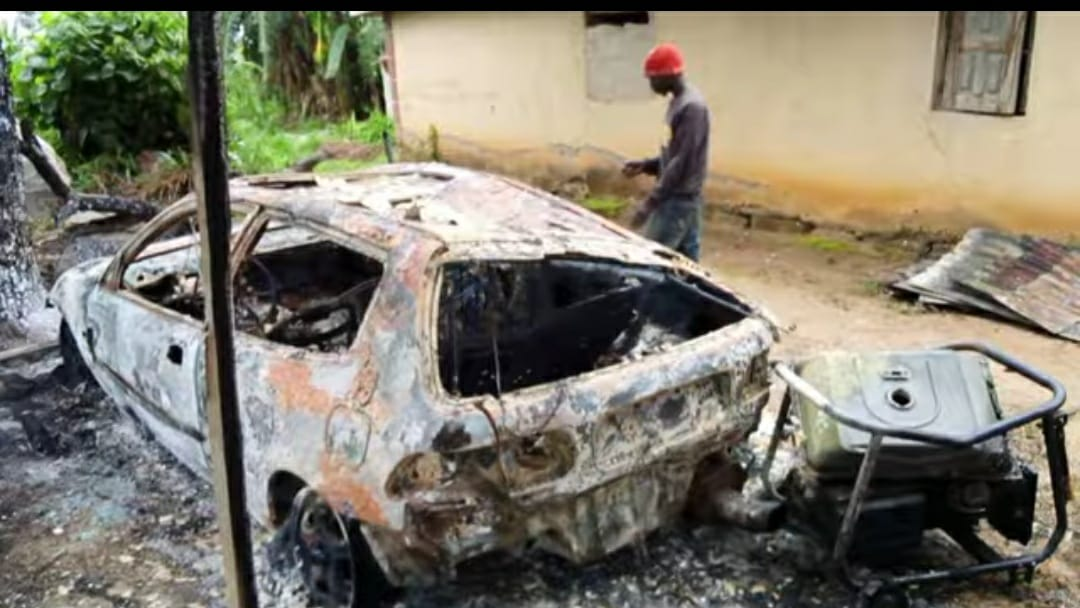 Destruction in one of the villages attacked in Zangon Kataf LGA