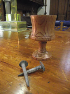 Building Wesley Memorial: nails from the construction of the church roof in 1878 and a miniature communion chalice, fashioned from one of the original pews