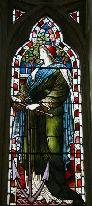 Detail of stained glass window - hope