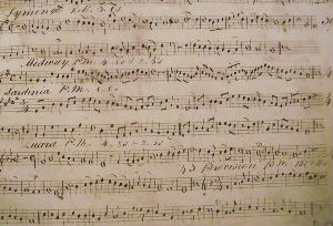 Worship: this nineteenth-century manuscript music was used by the organist before music editions of hymn books were published