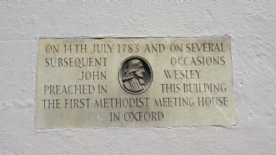 Commemorative plaque of 1st Methodist meeting house, New Inn Hall street