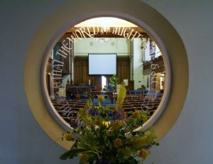 A view from the porch into the church