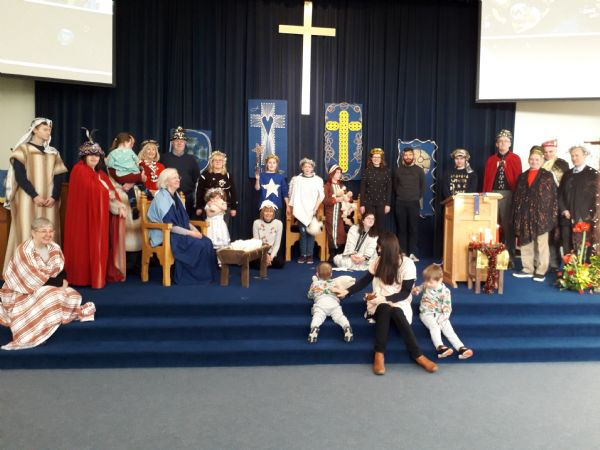 Everyone who joined in with our pop-up nativity.