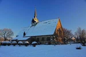 A snow covered St Peters
