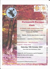 Portsmouth Baroque Choir Poster October 2021