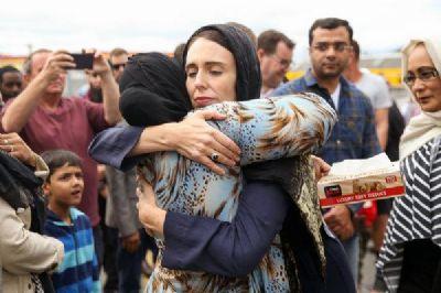 New Zealand Prime Minister Jacinda Ardern with mourner