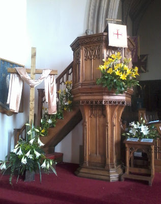 Pulpit decorated for Easter