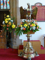Lectern decorated with Harvest flowers