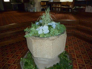 font with floral display
