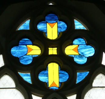 Zion Church Cross in stained glass window