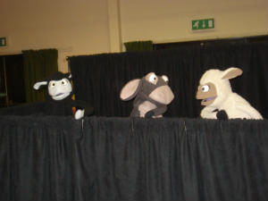 Sheep and Donkey puppet rehearsal