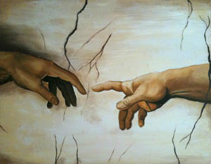 God touching Adam's finger, Michaelangelo