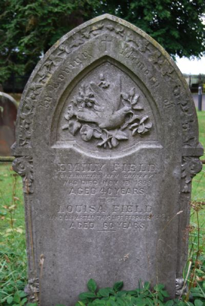 The top section of a headstone showing the intricate carving of a dove and flowers