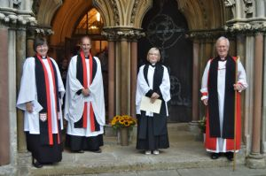 Bishop David, Archdeacon Jenny, Associate Are Dean Duncan and Dee