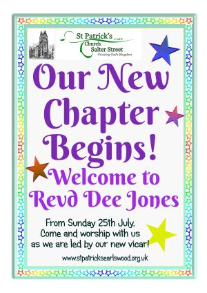 A poster welcoming Revd Dee Jones, as we begin our new chapter at St Patrick's