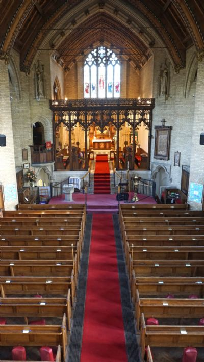 View looking east from the balcony down the length of the church