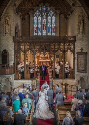 Bride  Groom during service