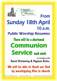 poster giving details of our resumption of public worship