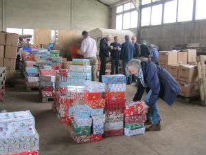 shoeboxes in warehouse at Cranleigh 2015