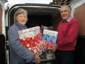 shoeboxes being unloaded at Cranleigh